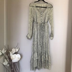 fp one full length sheer dress with gold line Sz M